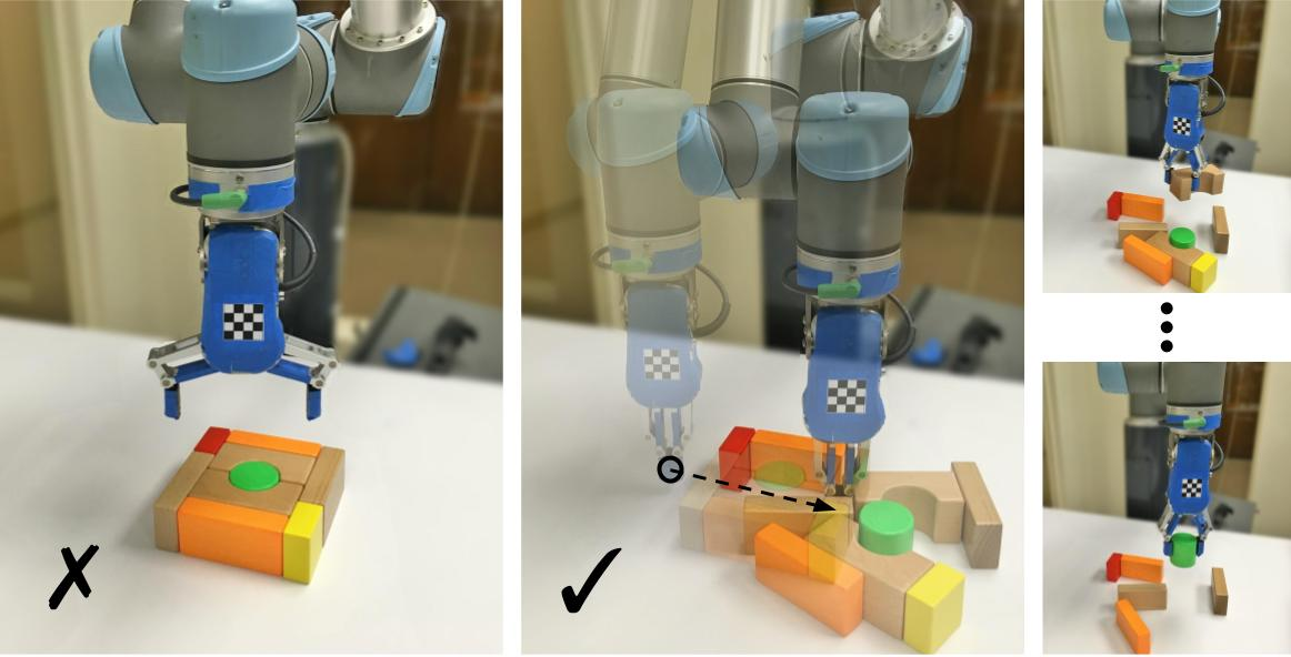 Learning Synergies between Pushing and Grasping with Self-supervised